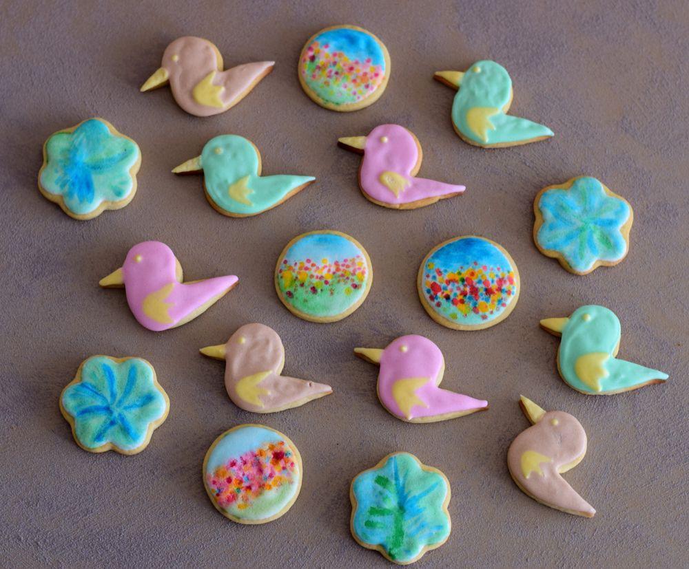 Birds, flowers, royal icing cookies
