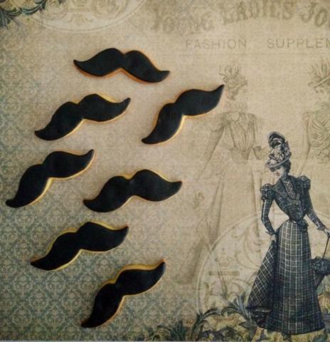 Elegant mustage, royal icing cookies