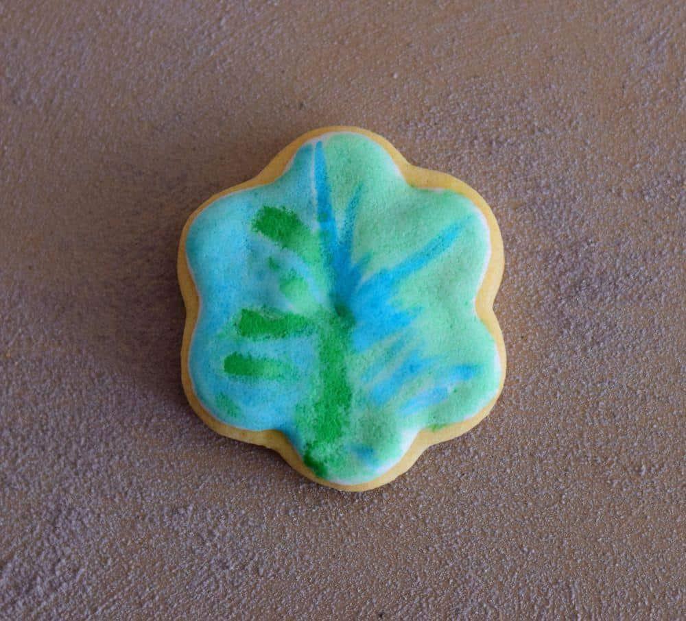 Green Blue Flower Cookie